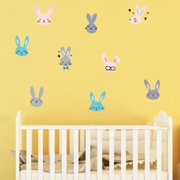 Set autocolante pentru perete Ambiance Adorable Bunnies