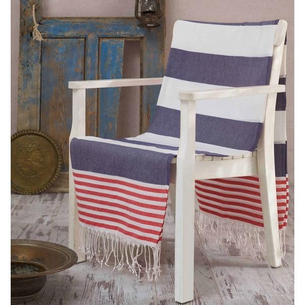 Hammam Anayla kék-piros-fehér fürdőlepedő, 100 x 180 cm
