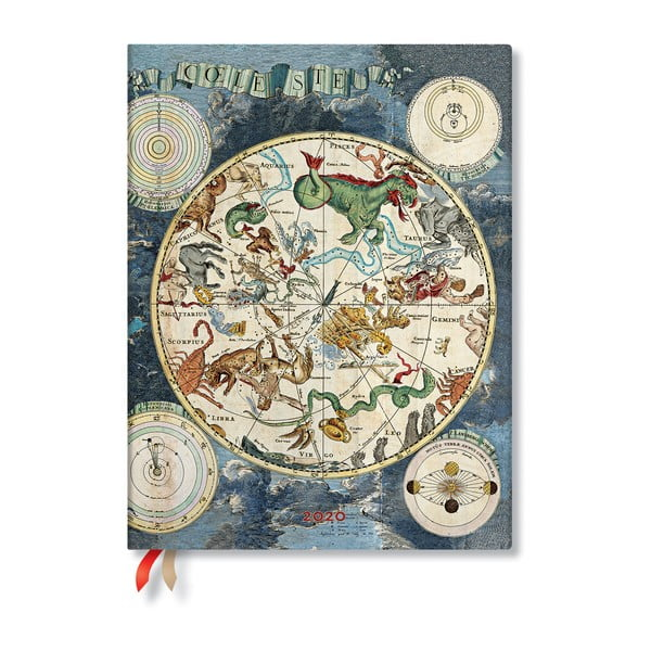 Niebieski kalendarz na rok 2020 w twardej oprawie Paperblanks Celestial Planisphere, 160 str.