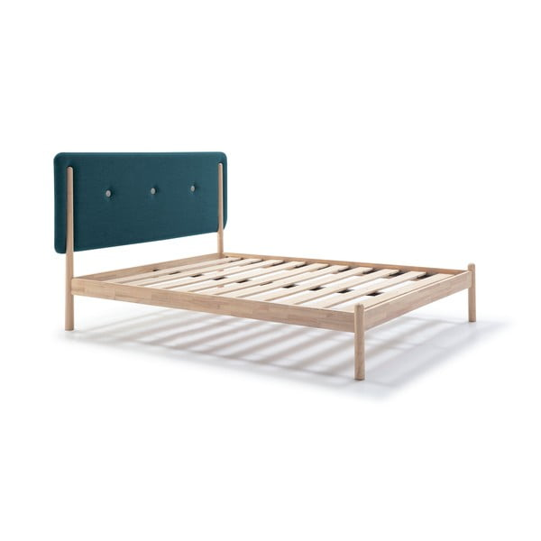Łóżko drewniane z turkusowym zagłówkiem Marckeric Annie, 140x200 cm