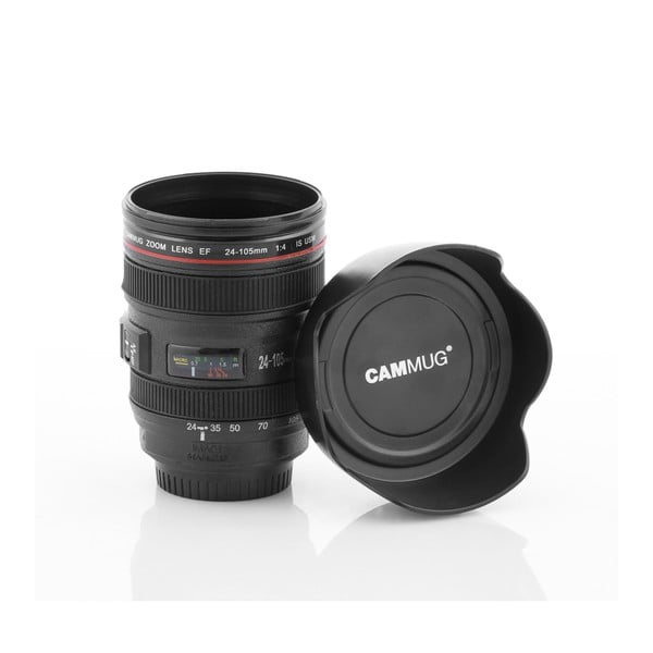 Čierny multifunkčný cestovný termohrnček InnovaGoods Lens, 400 ml