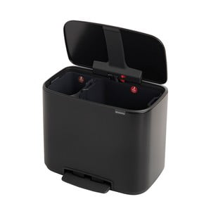 Matně černý odpadkový pedálový koš se 2 vnitřními přihrádkami Brabantia Bo, 11l+23l