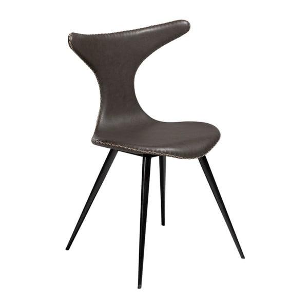 Tmavě šedá kožená jídelní židle z eko kůže s černým kovovým podnožím DAN–FORM Denmark Dolphin