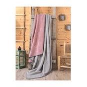 Šedo-růžová deka Mily, 200x220cm
