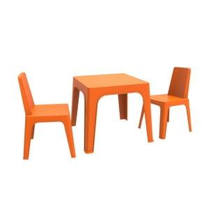Oranžový dětský zahradní set 1 stolu a 2 židliček Resol Julieta