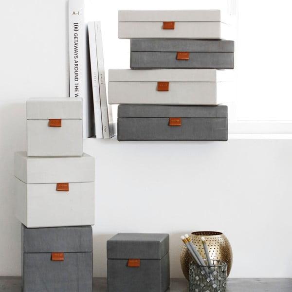 Set 4 cutii depozitare Monograph, alb-negru