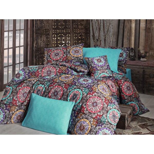 Lenjerie de pat cu cearșaf Ashley Turquoise, 200 x 220 cm