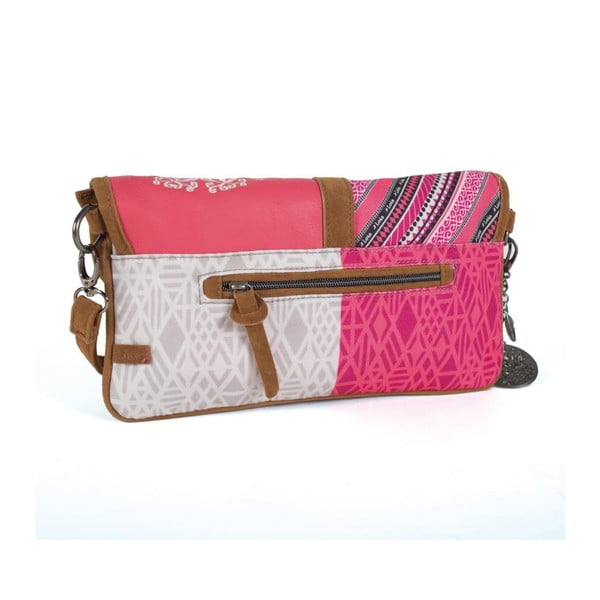 Růžovo-bílá kabelka s třásněmi Lois, 30 x 16 cm