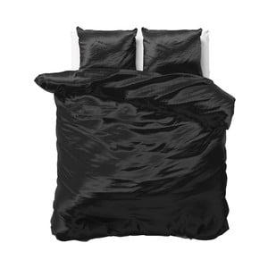 Černé povlečení ze saténového mikroperkálu na dvoulůžko Sleeptime, 240x220cm
