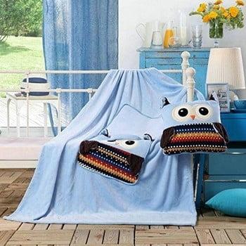 Pătură din microfibră pentru copii DecoKing Cuties Owls, 110 x 160 cm, albastru imagine