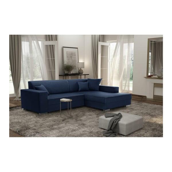 Modrá rohová rozkládací pohovka s úložným prostorem INTERIEUR DE FAMILLE PARIS Perle, pravý roh