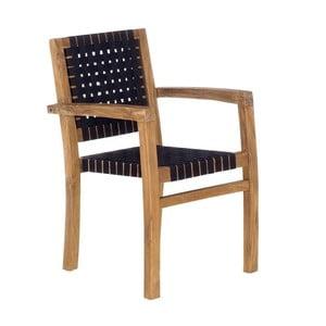Černá zahradní židle z recyklovaného teakového dřeva SOB Garden