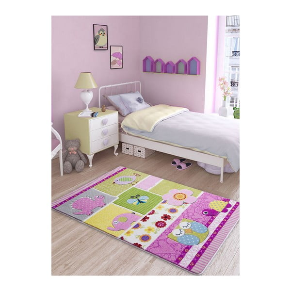 Covor pentru copii Patchwork Pink, 100 x 150 cm