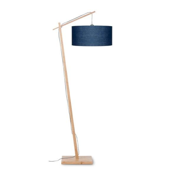 Stojací lampa s modrým stínidlem a konstrukcí z bambusu Good&Mojo Andes