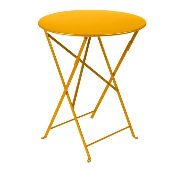 Žlutý skládací kovový stůl Fermob Bistro
