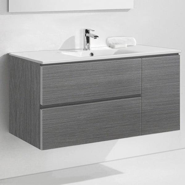 Koupelnová skříňka s umyvadlem a zrcadlem Happy, odstín šedé, 120 cm
