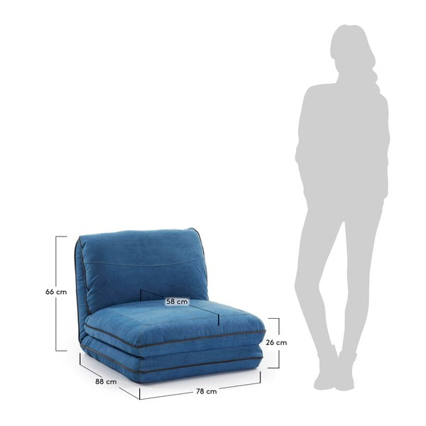 Modré rozkládací křeslo La Forma Moss