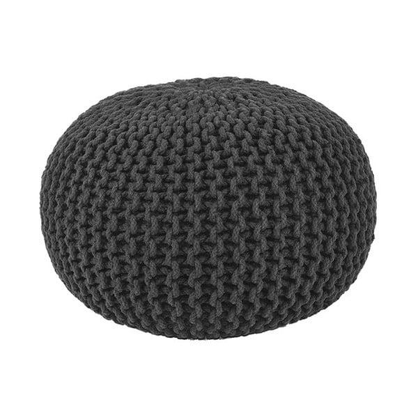 Czarny puf dziergany LABEL51 Knitted, ⌀ 50 cm