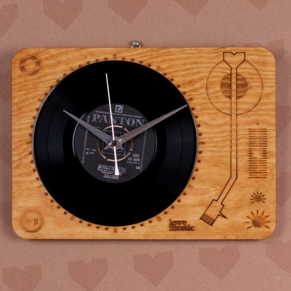 Dřevěné hodiny Gramofon