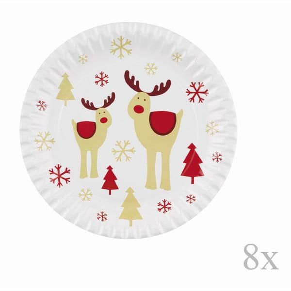 Sada 8 papírových vánočních tácků Neviti Rocking Rudolf, ⌀23cm