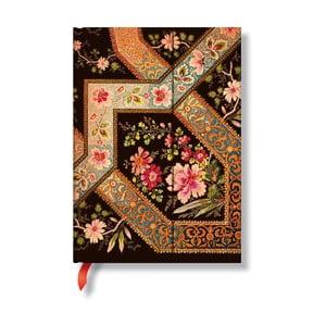 Diář na rok 2014 - Filigree Floral Ebony 13x18 cm, horizontální výpis dnů