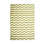 Bavlněný koberec Chevron Ivory/Green, 120x180 cm