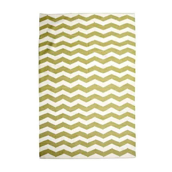 Bavlněný koberec Chevron Ivory/Green, 160x230 cm