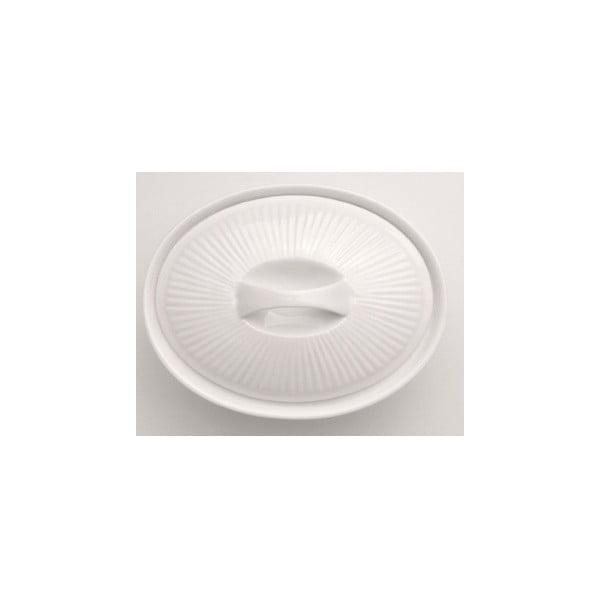Bílá kameninová zapékací mísa s poklicí Bianco, 27 x 20 cm