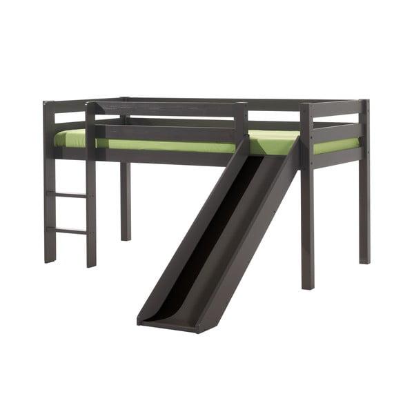 Szare łóżko dziecięce ze zjeżdżalnią Vipack Pino