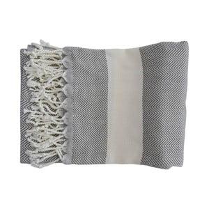 Šedá ručně tkaná osuška z prémiové bavlny Homemania Lidya Hammam,100x180 cm