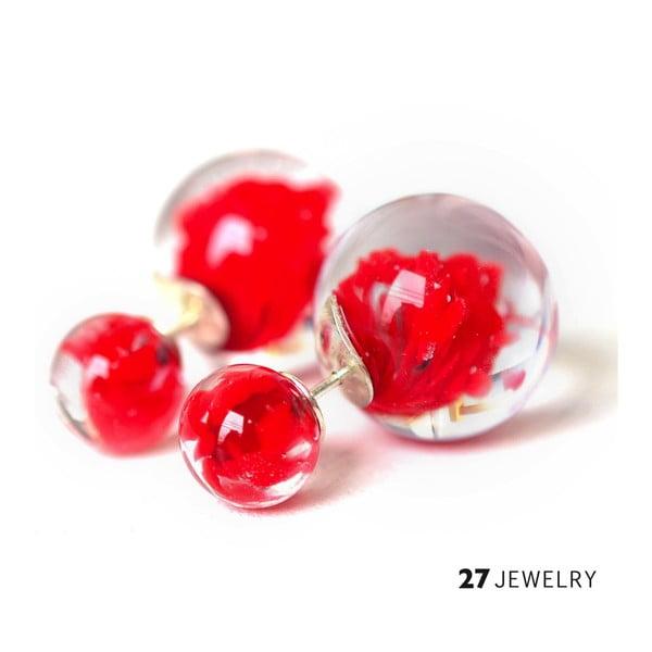 Červené oboustranné naušnice ze skla Enamor