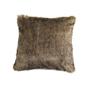 Hnědý chlupatý polštář ZicZac, 45x45cm