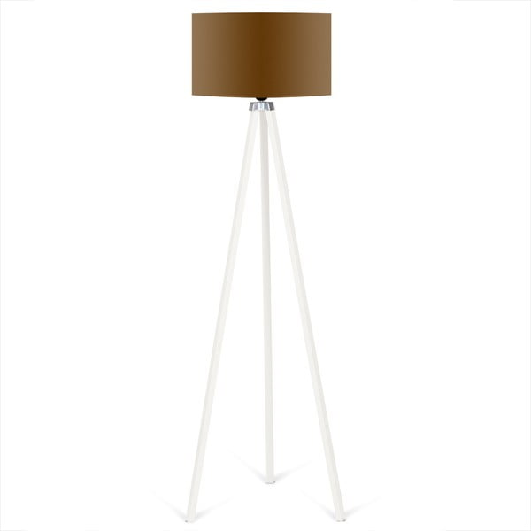 Bílá volně stojící lampa s hnědým stínítkem Kate Louise Beyaz