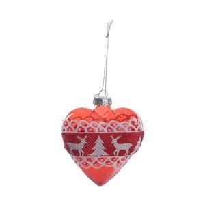 Sada 6 skleněných vánočních ozdob InArt Hearts