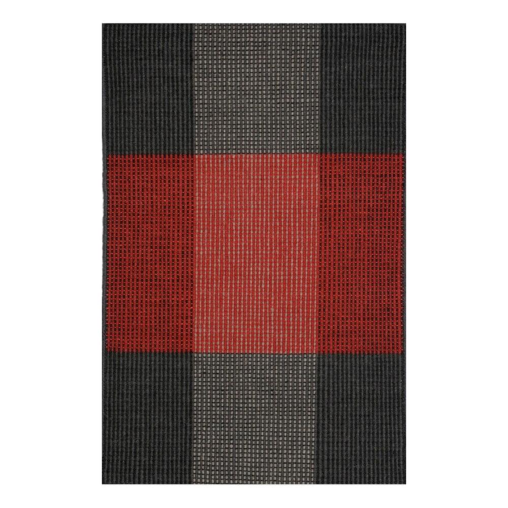 Červeno-šedý ručně tkaný vlněný koberec Linie Design, 250 x 350 cm