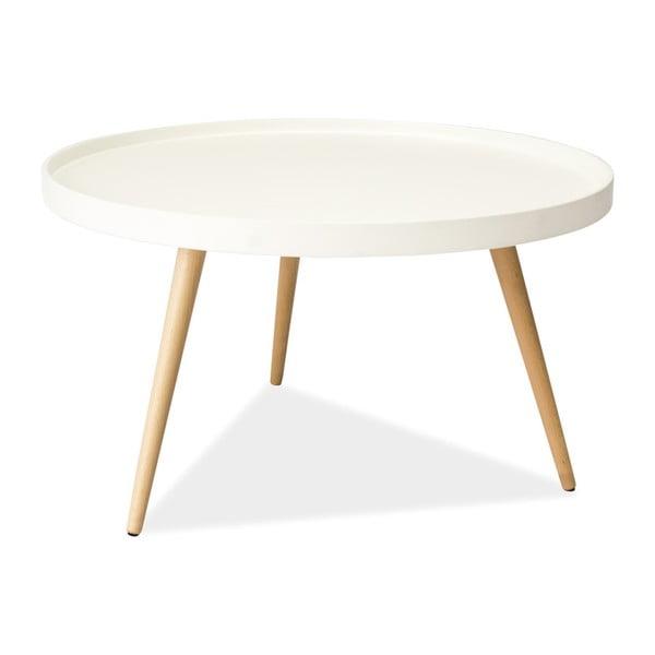 Bílý odkládací stolek s nohama z kaučukového dřeva Signal Toni, ⌀78cm