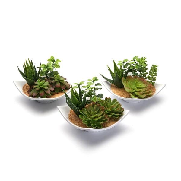 Sada 3 umělých rostlin v keramickém květináči Pots