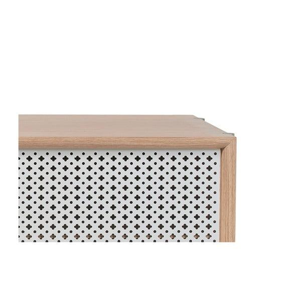 Světle šedý TV stolek z dubového dřeva HARTÔ Gabin, délka 122 cm