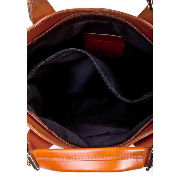Koňakově hnědá kožená kabelka Massimo Castelli Valeria