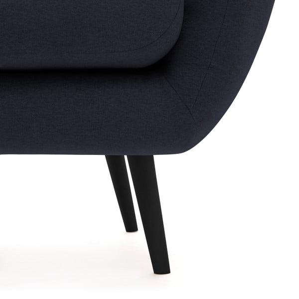 Canapea 3 locuri cu picioare negre Vivonia Kennet, bleumarin