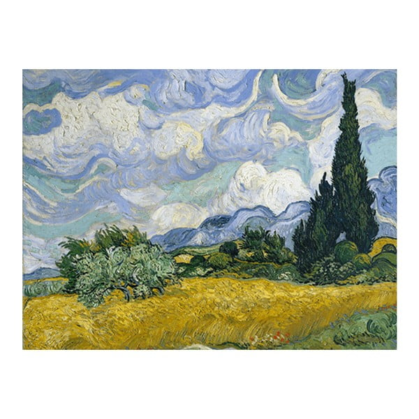 Obraz Vincenta van Gogha - Wheat Field with Cypresses, 90x70 cm