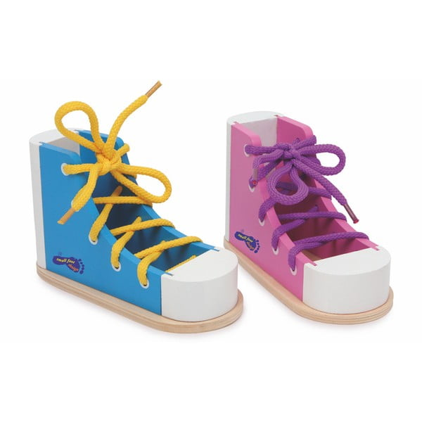 Pantofi din lemn pentru exersat legatul la șireturi Legler Coloured