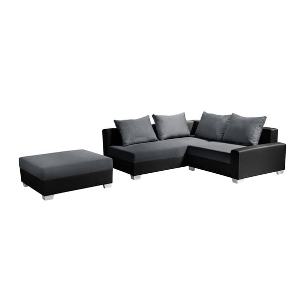Colțar cu pat pe partea stângă Interieur De Famille Paris Aventure, negru - gri