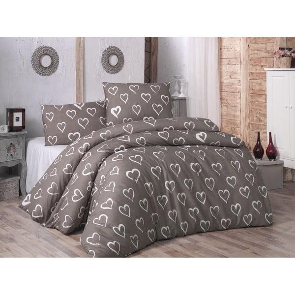 Bavlněné povlečení s prostěradlem na dvoulůžko a 2 povlaky na polštáře Hearts, 200 x 220 cm