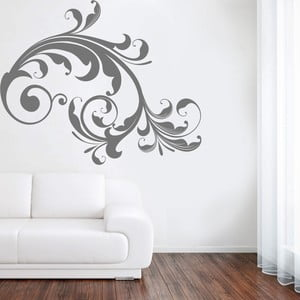 Samolepka na stěnu Černý floral, 60x90 cm