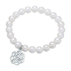 Bílý perlový náramek Pearls of London Flower,19 cm