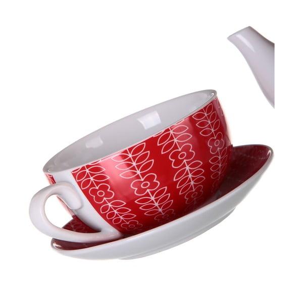 Konvička se šálkem Flowers 450 ml, červená