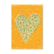 Plakát Geometric Heart in Yellow, 30x42 cm