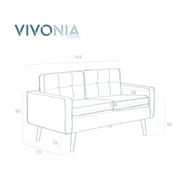 Pastelově modrá pohovka pro dva Vivonita Ina