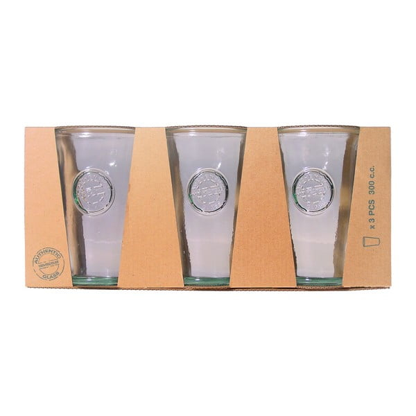 Set 3 pahare din sticlă reciclată Ego Dekor Authentic, 300 ml